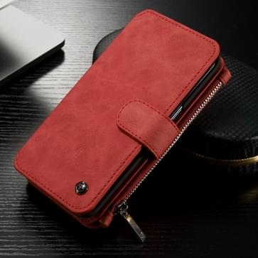 Samsung Galaxy S7 Edge / G935 horizontaal multifunctioneel PU leren CaseMe Flip Hoesje met magnetisch verbonden afneembaar back cover, foto frame en opbergruimte voor veel pinpassen & geld (rood)