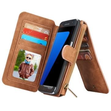 Samsung Galaxy S7 Edge / G935 horizontaal multifunctioneel PU leren CaseMe Flip Hoesje met magnetisch verbonden afneembaar back cover, foto frame en opbergruimte voor veel pinpassen & geld (bruin)