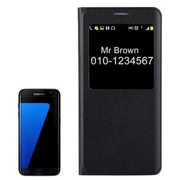 Voor Samsung Galaxy S7 Edge / G935 Litchi structuur horizontaal flip lederen hoesje met Oproepweergave ID(zwart)