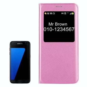 Voor Samsung Galaxy S7 Edge / G935 Litchi structuur horizontaal flip lederen hoesje met Oproepweergave ID(roze)