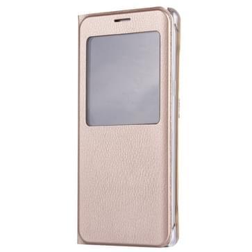 Voor Samsung Galaxy S7 Edge / G935 Litchi structuur horizontaal flip lederen hoesje met Oproepweergave ID(Goud)