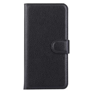 Voor Samsung Galaxy S6 / G920 Litchi structuur horizontaal flip lederen hoesje met houder & opbergruimte voor pinpassen & portemonnee(zwart)