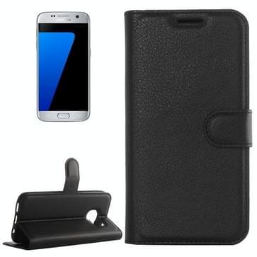Voor Samsung Galaxy S7 / G930 Litchi structuur horizontaal flip lederen hoesje met houder & opbergruimte voor pinpassen & portemonnee(zwart)