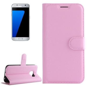 Voor Samsung Galaxy S7 / G930 Litchi structuur horizontaal flip lederen hoesje met houder & opbergruimte voor pinpassen & portemonnee(roze)