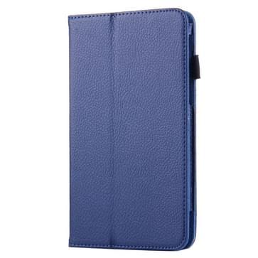 Voor Samsung Galaxy Tab A 7.0 / T280 Litchi structuur magnetische horizontaal flip lederen hoesje met houder (donker blauw)