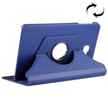 Voor Samsung Galaxy Tab A 10.1 / T580 Litchi structuur horizontaal flip 360 graden draaibaar lederen hoesje met houder (donker blauw)