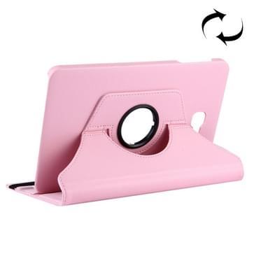 Voor Samsung Galaxy Tab A 10.1 / T580 Litchi structuur horizontaal flip 360 graden draaibaar lederen hoesje met houder(roze)