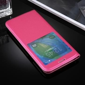 Samsung Galaxy S8 PLUS / G9550 horizontaal Litchi structuur PU leren Flip Hoesje met handig kijkvenster (hard roze)