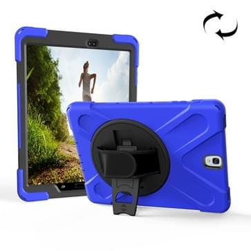For Galaxy Tab S3 9.7 inch T820 360 Degree Rotation PC + Silicone Protective Case with Holder & Hand-strap (Dark Blue)