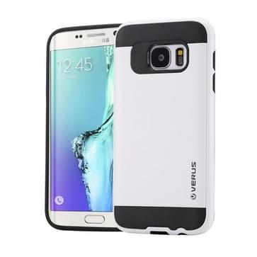 Samsung Galaxy S6 Edge / G925 Geborstelde structuur beschermend TPU + kunststof VERUS back cover Hoesje Wit