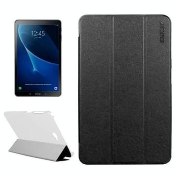 ENKAY voor Samsung Galaxy Tab A 10.1 / T580 Silk structuur horizontaal flip lederen hoesje met drie-vouwen houder(zwart)