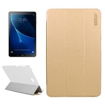 ENKAY voor Samsung Galaxy Tab A 10.1 / T580 Silk structuur horizontaal flip lederen hoesje met drie-vouwen houder(Goud)