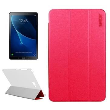 ENKAY voor Samsung Galaxy Tab A 10.1 / T580 Silk structuur horizontaal flip lederen hoesje met drie-vouwen houder(rood)