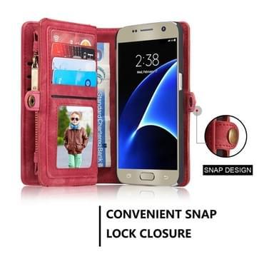 Samsung Galaxy S7 / G930 horizontaal multifunctioneel PU leren CaseMe Flip Hoesje met magnetisch verbonden afneembaar back cover, foto frame en opbergruimte voor pinpassen & geld (rood)