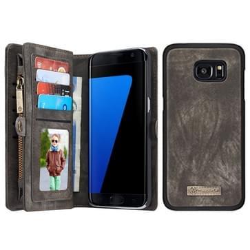Samsung Galaxy S7 Edge / G935 horizontaal multifunctioneel PU leren CaseMe Flip Hoesje met magnetisch verbonden afneembaar back cover, foto frame en opbergruimte voor pinpassen & geld (zwart)
