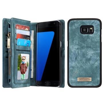Samsung Galaxy S7 Edge / G935 horizontaal multifunctioneel PU leren CaseMe Flip Hoesje met magnetisch verbonden afneembaar back cover, foto frame en opbergruimte voor pinpassen & geld (groen)