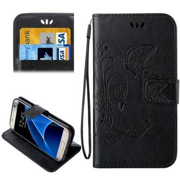 Voor Samsung Galaxy S7 / G930 Crazy Horse structuur afdrukken horizontaal flip lederen hoesje met houder & opbergruimte voor pinpassen & portemonnee & Lanyard(zwart)