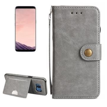 Samsung Galaxy S8 PLUS / G9550 horizontaal Litchi structuur PU leren Flip Hoesje met draagriem, houder, foto frame en opbergruimte voor pinpassen & geld (grijs)