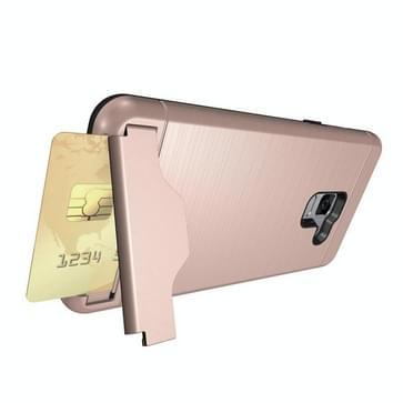 Voor Galaxy A8 PLUS (2018) geborsteld textuur, scheidbaar PC + TPU beschermende combinatie Back Cover met houder & kaartslot (Rose goud)