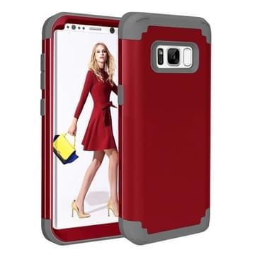 Samsung Galaxy S8 Schokbestendig en superstevig 3 in 1 siliconen back cover Hoesje (rood)