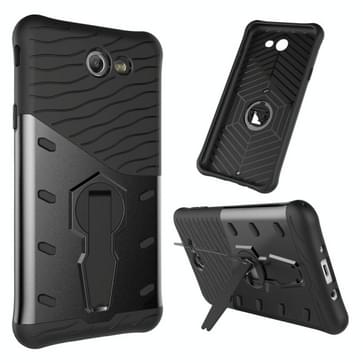 For Galaxy J7 (2017) / J727 (US Version) Shock-Resistant 360 Degree Spin Sniper Hybrid Case TPU + PC Combination Case with Holder(Black)