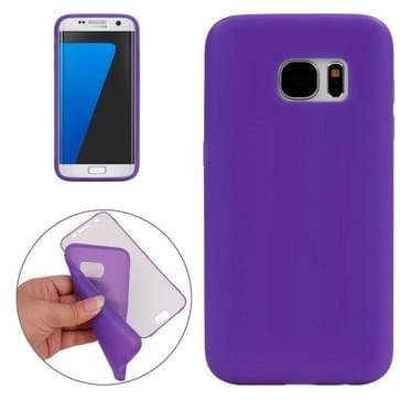 Samsung Galaxy S7 / G930 horizontaal TPU Flip Hoesje met transparant kunststof Touch cover (paars)