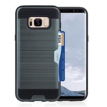 Samsung Galaxy S8 PLUS / G9550 TPU + plastic back cover Hoesje met opbergruimte voor pinpas (donker blauw)