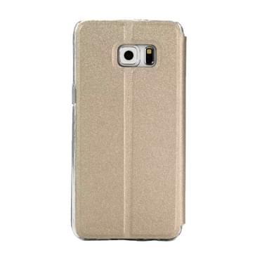 Voor Samsung Galaxy S7 / G930 horizontaal flip lederen hoesje met houder & Oproepweergave ID (Goud)