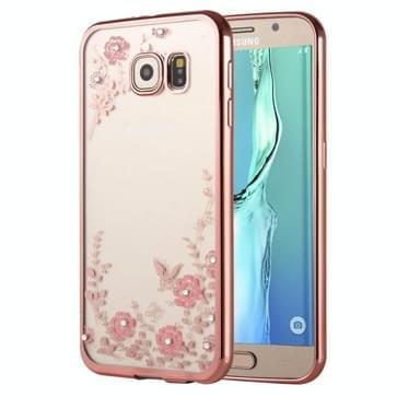 Samsung Galaxy S6 Edge + / G928 met nep diamanten ingelegd Roze bloemetjes patroon TPU back cover Hoesje