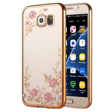 Samsung Galaxy S7 / G930 gegalvaniseerd met nep diamanten ingelegd Bloemen patroon TPU back cover Hoesje (goudkleurig)