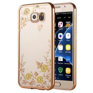 Samsung Galaxy S7 / G930 gegalvaniseerd met nep diamanten ingelegd Groen bloemen patroon TPU back cover Hoesje (goudkleurig)