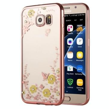 Samsung Galaxy S7 / G930 gegalvaniseerd met nep diamanten ingelegd Groen bloemen patroon TPU back cover Hoesje (roze goudkleurig)