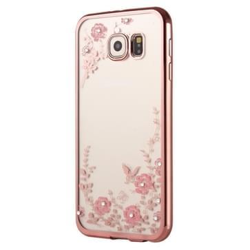 Samsung Galaxy S7 Edge / G935 met nep diamanten ingelegd Roze bloemetjes patroon TPU back cover Hoesje