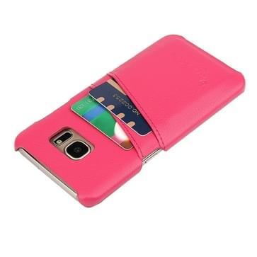 Voor Samsung Galaxy S7 Edge / G935 Litchi structuur mode echt lederen backcover hoesje met opbergruimte voor pinpassen (hard roze)