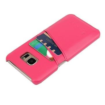Voor Samsung Galaxy S7 / G930 Litchi structuur mode echt lederen backcover hoesje met opbergruimte voor pinpassen (hard roze)