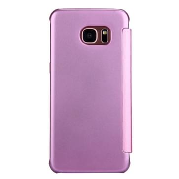 Samsung Galaxy S7 Edge / G935 horizonaal PU leer + kunststof Flip Hoesje met slaap / ontwaak functie (roze)