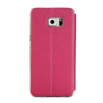 Voor Samsung Galaxy S7 Edge / G935 horizontaal flip lederen hoesje met houder & Oproepweergave ID (hard roze)
