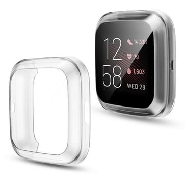 Voor Fitbit versa 2 Plating TPU All-inclusive Protective Shell (Transparant)