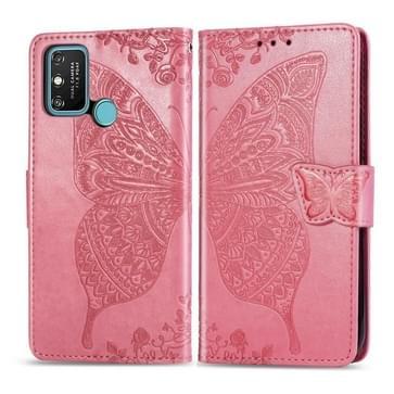 Voor Huawei Honor 9A Butterfly Love Flower Embossed Horizontale Flip Lederen Case met bracket / card slot / Wallet / Lanyard(Pink)