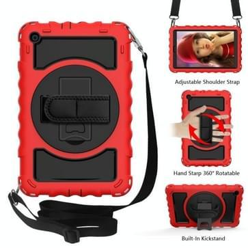 Voor Samsung Galaxy Tab A 10.1 2019 (T510 / T515) 360 Graden Rotatie PC + Siliconen Schokbestendige Combinatiecase met houder & handgreepband & halsband(rood)