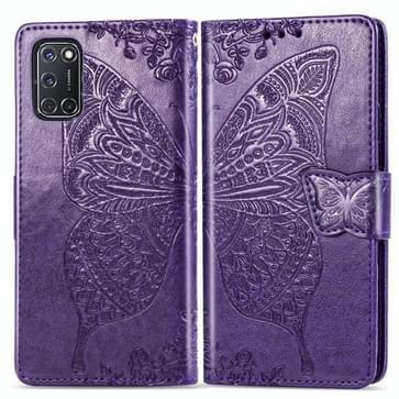 Voor OPPO A52/A72/A92 Butterfly Love Flower Embossed Horizontale Flip Lederen Case met beugel / kaartslot / Portemonnee / Lanyard(Donker paars)