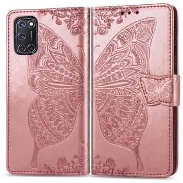 Voor OPPO A52/A72/A92 Butterfly Love Flower Embossed Horizontale Flip Lederen Case met beugel / kaartslot / Portemonnee / Lanyard(Rose Gold)