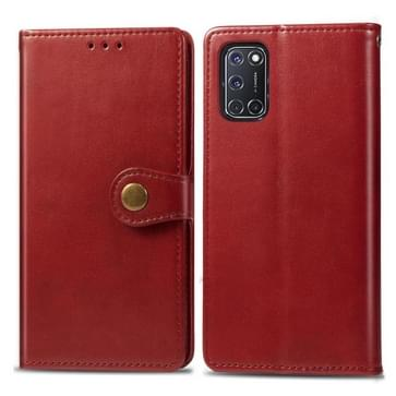 Voor OPPO A52/A72/A92 Retro Solid Color Leather Buckle Phone Case met Lanyard & Photo Frame & Card Slot & Wallet & Stand Functie(Rood)