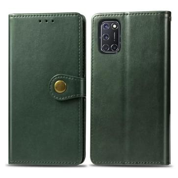 Voor OPPO A52/A72/A92 Retro Solid Color Leather Buckle Phone Case met Lanyard & Photo Frame & Card Slot & Wallet & Stand Functie(Groen)