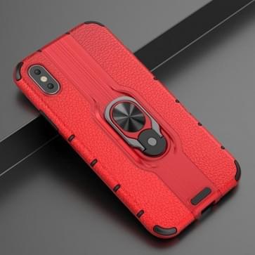 Voor iPhone X / XS Schokbestendige PC + TPU-hoesje met ringhouder(rood)