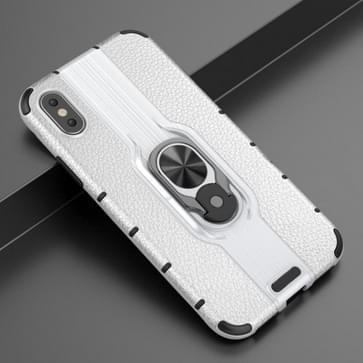 Voor iPhone X / XS Schokbestendige PC + TPU-hoesje met ringhouder(zilver)