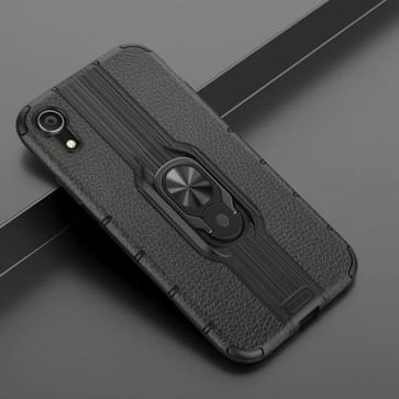 Voor iPhone XR Schokbestendige PC + TPU-hoesje met ringhouder(zwart)