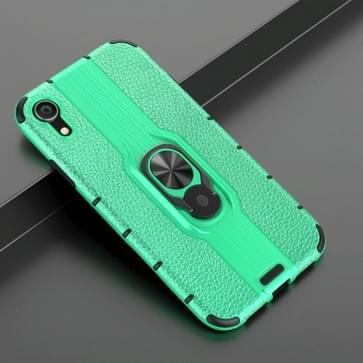 Voor iPhone XR Schokbestendige PC + TPU-hoesje met ringhouder(groen)
