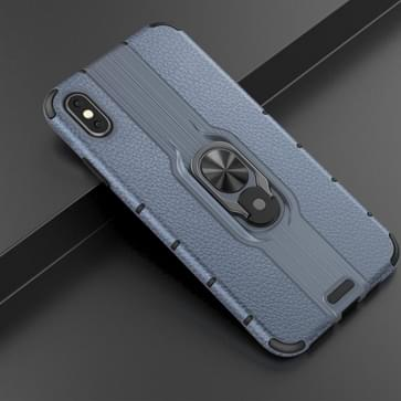 Voor iPhone Xs Max Schokbestendige PC + TPU-hoesje met ringhouder(Navy Blue)