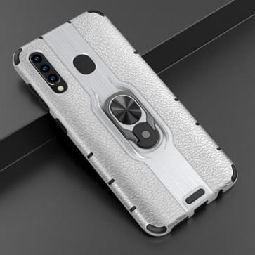Voor Samsung Galaxy A50 Schokbestendige PC + TPU-hoesje met ringhouder(zilver)